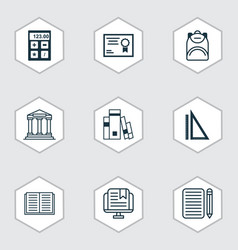 Set of 9 school icons includes college vector