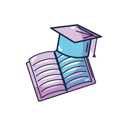 Hat graduation with open notebook study vector