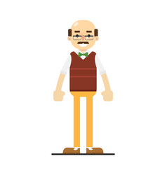 Adult bald man in bow tie sweater and pants vector