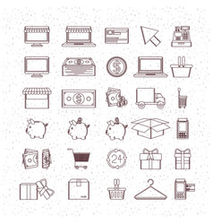Monochrome set of icons of buy and sell and vector