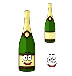 Happy green bottle of luxury champagne vector