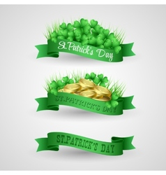 Set of saint patrick day banner with clover and vector