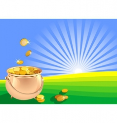 Pot of gold coins vector