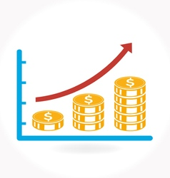 Business graph growth progress icon vector