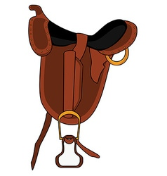 Brown leather saddle vector image