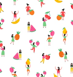 Girls with fruits pattern vector