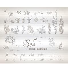 set of vintage sea life design elements vector image