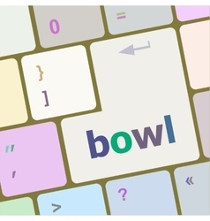 Bowl word on computer pc keyboard key vector