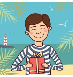Sailor with gift vector