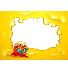 A yellow border template with a monster swallowing vector image vector image