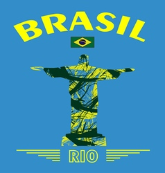 Abstract Brasil and rio design with statue over bl vector image
