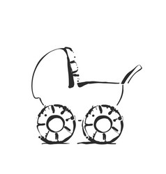 Baby stroller sketch icon isolated on vector