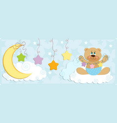 Babys banner with bear in blue colors vector image vector image