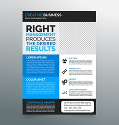 Business flyer template A4 - modern blue design vector image vector image