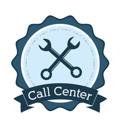 Call center support technical badge vector