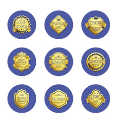 collection premium quality best gold labels icons vector image