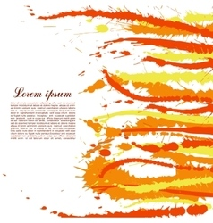 Colorful abstract yellow and orange splashes and vector