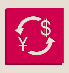 Currency exchange sign china yuan and us dollar vector