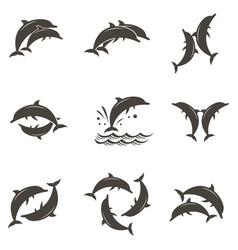 Dolphin emblem set vector