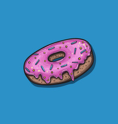 donut with pink icing vector image