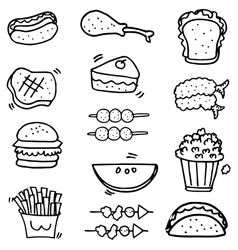 Doodle of food and fruit object vector
