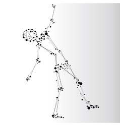 Falling human consisted of dots vector