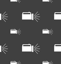 Flashlight icon sign seamless pattern on a gray vector