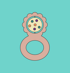Flat icon on background kids toy rattle vector