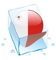 frozen button flag of malta vector image vector image
