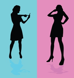 Girl talking by mobile phone vector