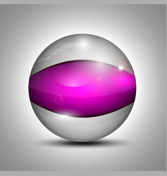 Glass sphere with purple line vector