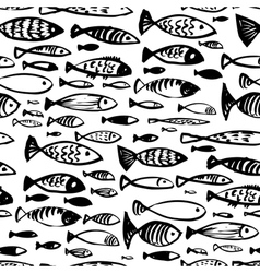 Hand drawn seamless pattern with doodle fish vector image