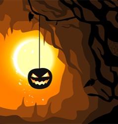 Hanging pumpkin Halloween horizontal banner vector image