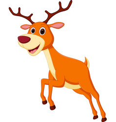 Happy deer cartoon jumping vector