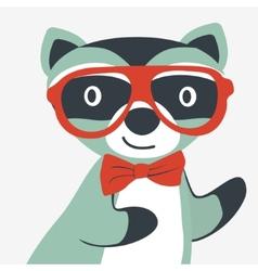 Happy raccoon gentleman vector