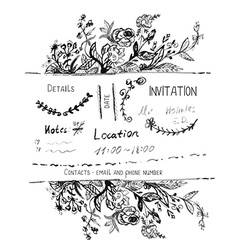 Invitation design with hand drawn flowers and vector image