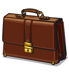 leather brown briefcase vector image vector image