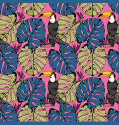 Seamless pattern with tropical branches leaves vector
