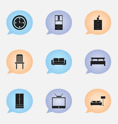 Set of 9 editable furniture icons includes vector