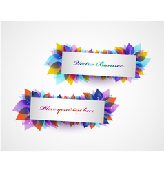 Set of banners with bright leaves vector