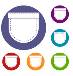 Shirt pocket icons set vector