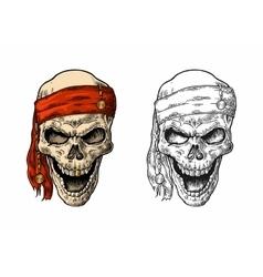 Skull pirate in bandana smiling black vintage vector