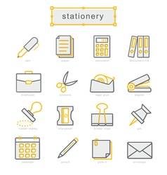Thin line icons set stationery vector image