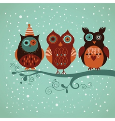 Three cute owls vector image vector image