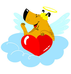 valentines day dog character dog in cupid fancy vector image vector image