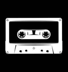 white silhouette of audio cassette on black vector image