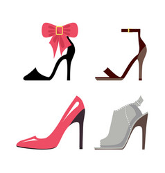 Women high-heeled shoes isolated set vector