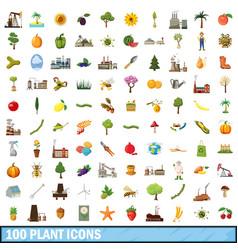 100 plant icons set cartoon style vector image