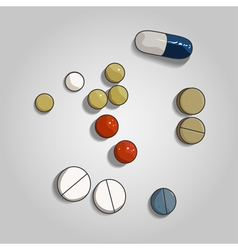 Colorful pill and tabs on grey background vector