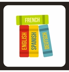 Books of foreign languages icon flat style vector
